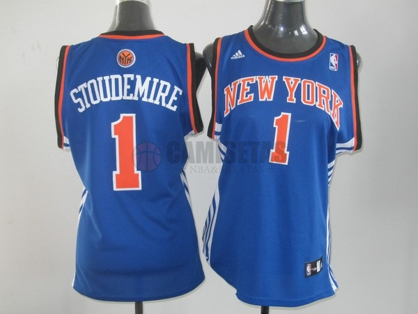 Camisetas NBA Mujer New York Knicks NO.1 Amar'e Stoudemire Azul Naranja Barats