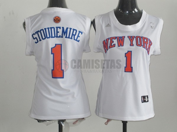 Camisetas NBA Mujer New York Knicks NO.1 Amar'e Stoudemire Blanco Barats