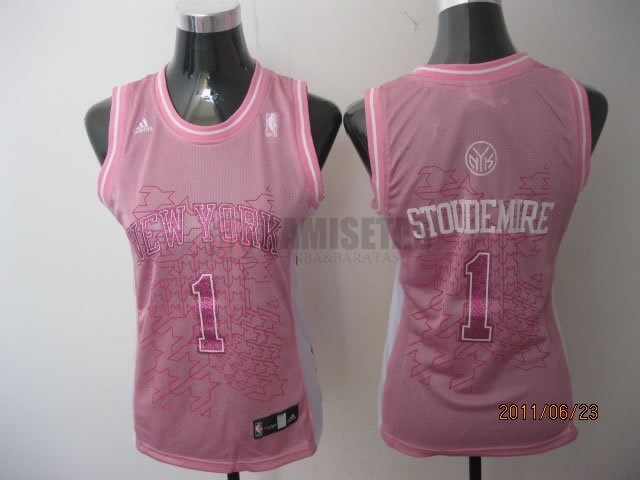 Camisetas NBA Mujer New York Knicks NO.1 Amar'e Stoudemire Rose Barats