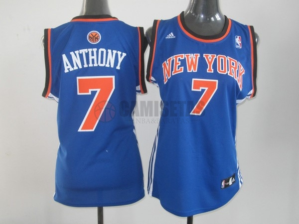 Camisetas NBA Mujer New York Knicks NO.7 Carmelo Anthony Azul Naranja Barats