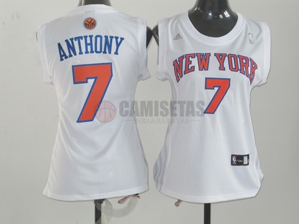 Camisetas NBA Mujer New York Knicks NO.7 Carmelo Anthony Blanco Naranja Barats