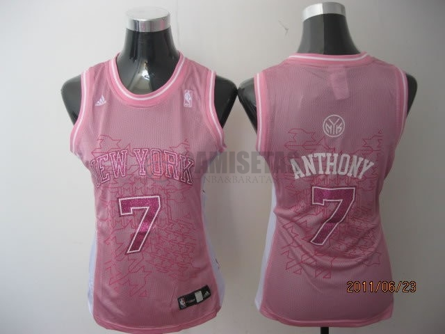 Camisetas NBA Mujer New York Knicks NO.7 Carmelo Anthony Rose Barats