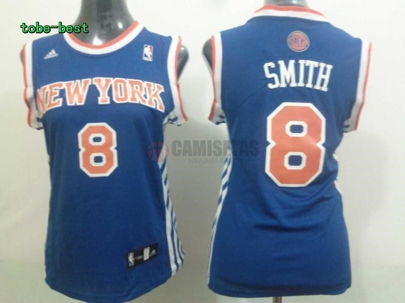 Camisetas NBA Mujer New York Knicks NO.8 JR.Smith Azul Barats