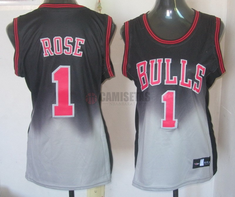 Camisetas NBA Mujer Resonar Moda NO.1 Derrick Rose Barats