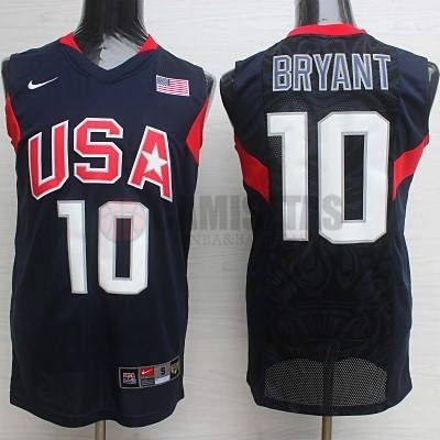 Camisetas NBA 2008 USA NO.10 Bryant Negro Barats