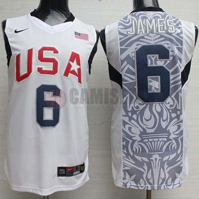 Camisetas NBA 2008 USA NO.6 James Blanco Barats