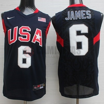 Camisetas NBA 2008 USA NO.6 James Negro Barats