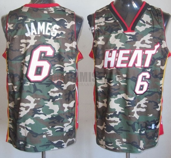 Camisetas NBA 2013 Camuflaje Moda NO.6 James Barats