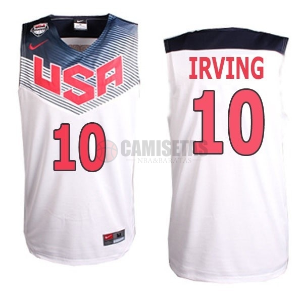 Camisetas NBA 2014 USA NO.10 Irving Blanco Barats