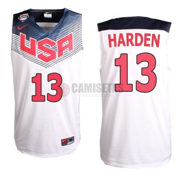 Camisetas NBA 2014 USA NO.13 Harden Blanco Barats