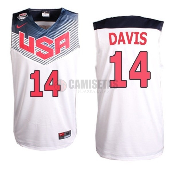 Camisetas NBA 2014 USA NO.14 Davis Blanco Barats