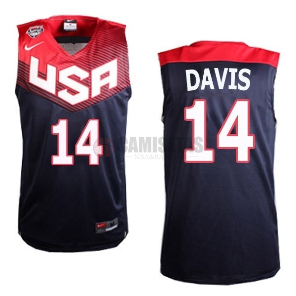 Camisetas NBA 2014 USA NO.14 Davis Negro Barats