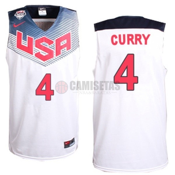 Camisetas NBA 2014 USA NO.4 Curry Blanco Barats