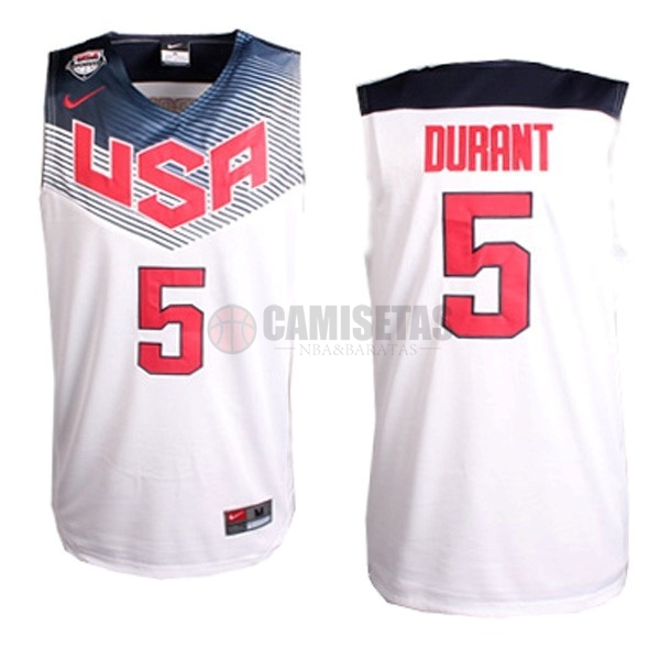 Camisetas NBA 2014 USA NO.5 Durant Blanco Barats
