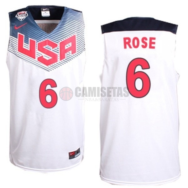 Camisetas NBA 2014 USA NO.6 Rose Blanco Barats
