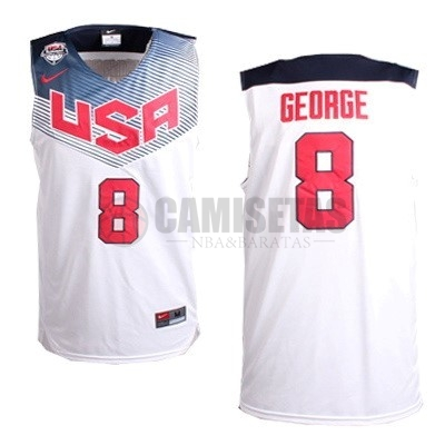 Camisetas NBA 2014 USA NO.8 George Blanco Barats