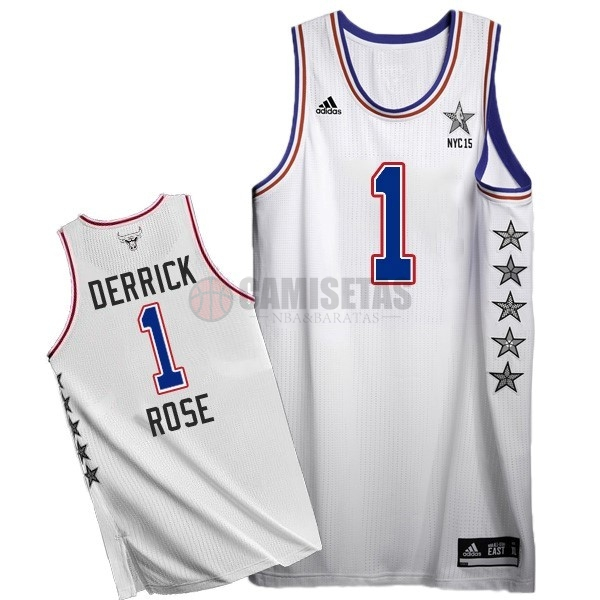 Camisetas NBA 2015 All Star NO.1 Derrick Rose Blanco Barats