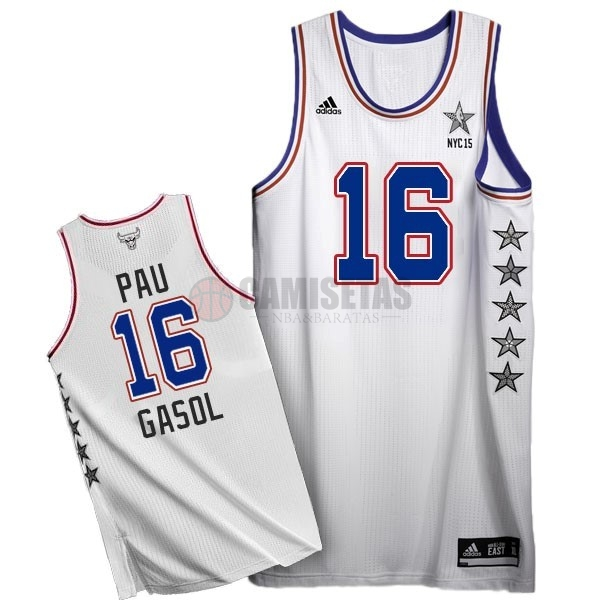 Camisetas NBA 2015 All Star NO.16 Pau Gasol Blanco Barats