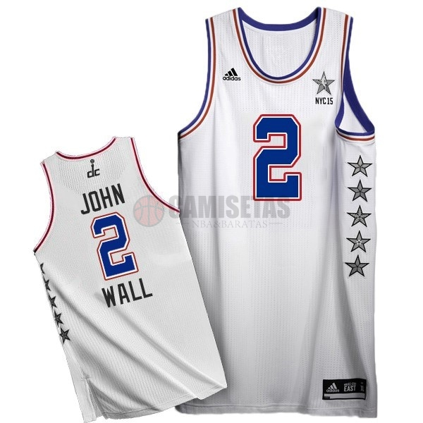 Camisetas NBA 2015 All Star NO.2 John Wall Blanco Barats