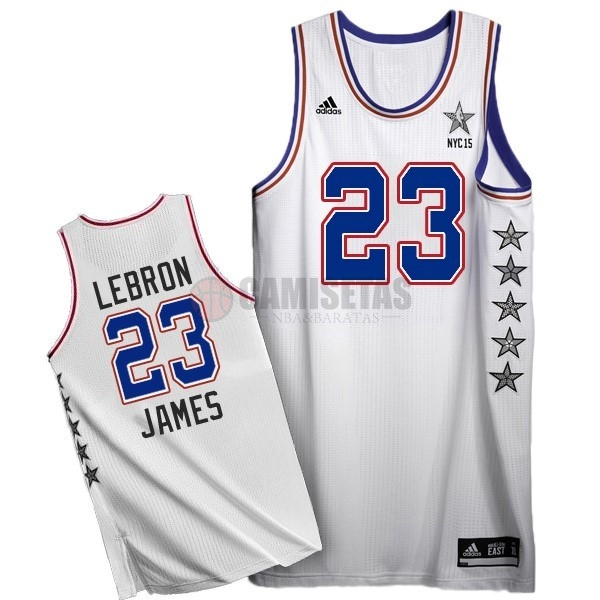 Camisetas NBA 2015 All Star NO.23 LeBron James Blanco Barats