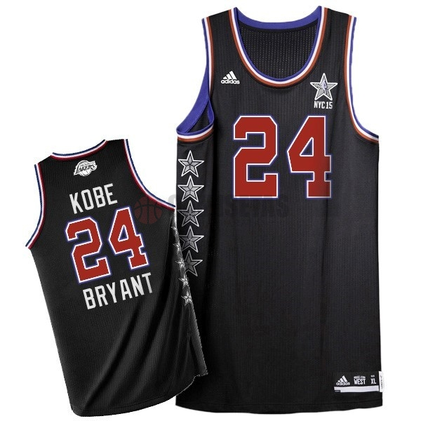Camisetas NBA 2015 All Star NO.24 Kobe Bryant Negro Barats