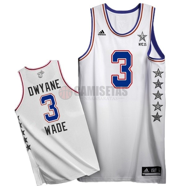 Camisetas NBA 2015 All Star NO.3 Dwyane Wade Blanco Barats