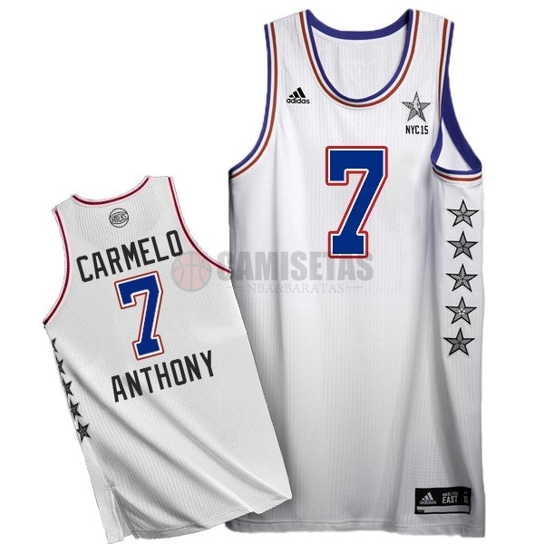 Camisetas NBA 2015 All Star NO.7 Carmelo Anthony Blanco Barats