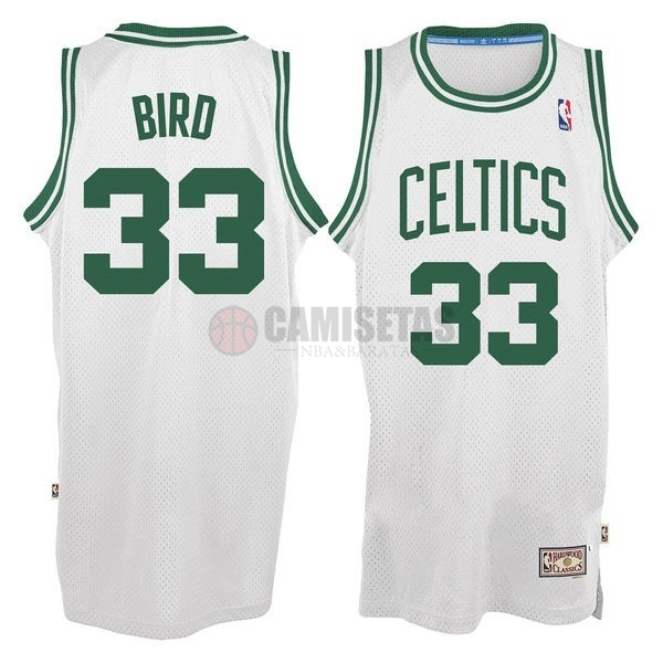Camisetas NBA Boston Celtics No.33 Larry Joe Bird Blanco Barats