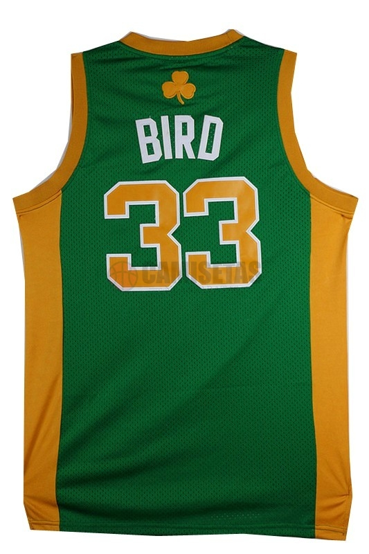 Camisetas NBA Boston Celtics No.33 Larry Joe Bird Verde Naranja Barats