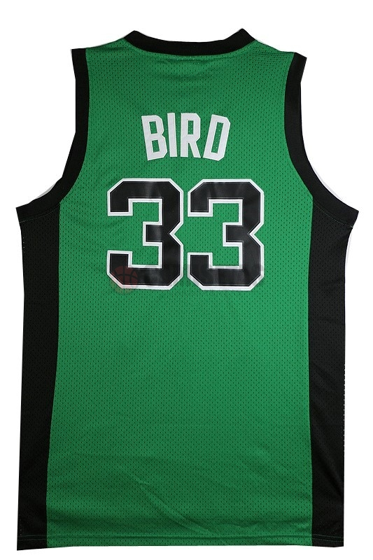 Camisetas NBA Boston Celtics No.33 Larry Joe Bird Verde Negro Barats