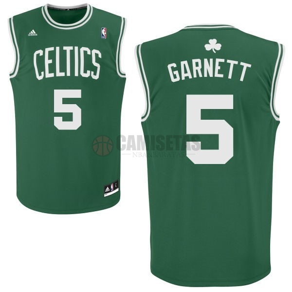 Camisetas NBA Boston Celtics No.5 Kevin Garnett Verde Blanco Barats