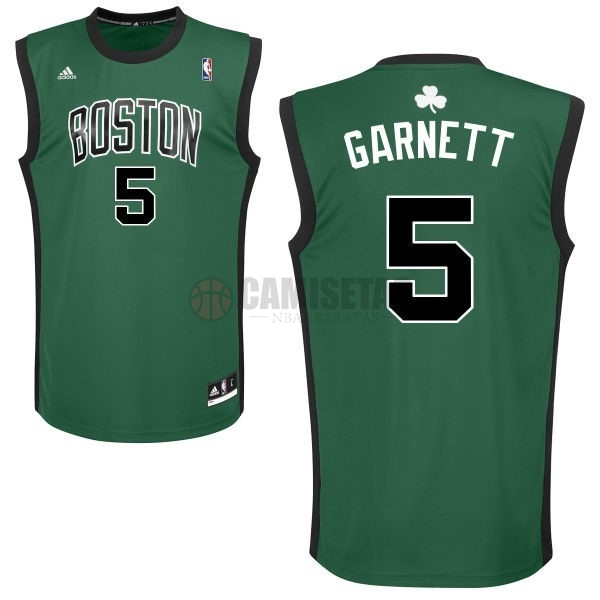 Camisetas NBA Boston Celtics No.5 Kevin Garnett Verde Negro Barats