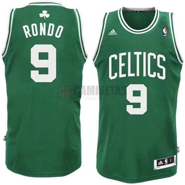 Camisetas NBA Boston Celtics No.9 Rajon Rondo Verde Blanco Barats