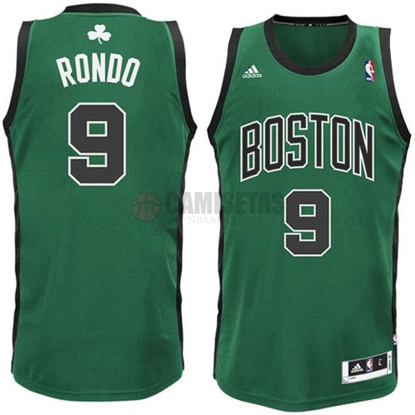 Camisetas NBA Boston Celtics No.9 Rajon Rondo Verde Negro Barats