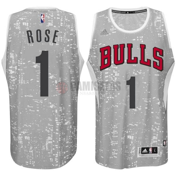 Camisetas NBA Chicago Bulls Luces Ciudad NO.1 Rose Blanco Barats