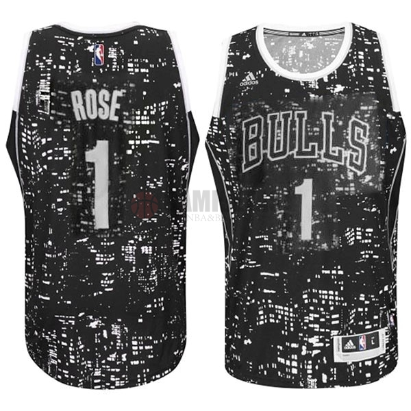 Camisetas NBA Chicago Bulls Luces Ciudad NO.1 Rose Negro Barats