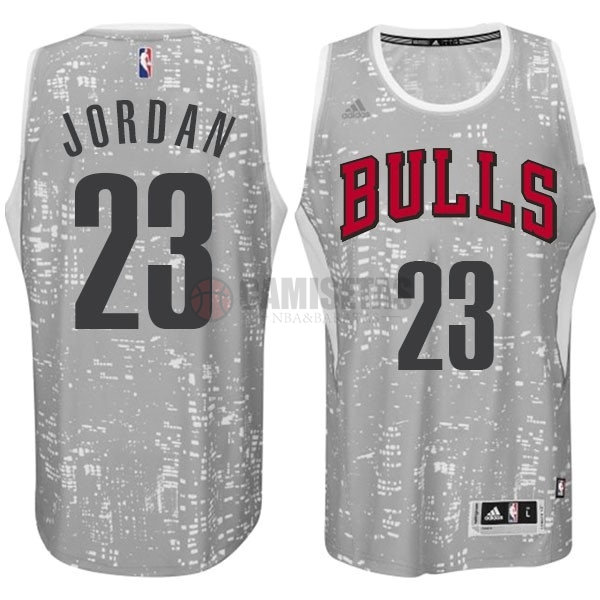 Camisetas NBA Chicago Bulls Luces Ciudad NO.23 Jordan Gris Barats