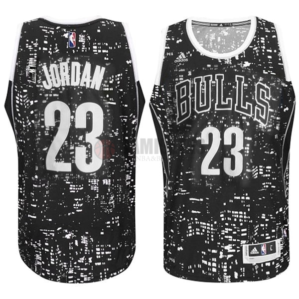 Camisetas NBA Chicago Bulls Luces Ciudad NO.23 Jordan Negro Barats