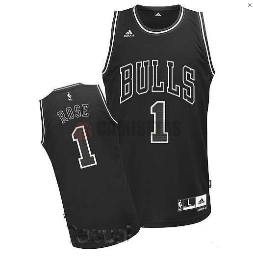 Camisetas NBA Chicago Bulls NO.1 Derrick Rose Negro Barats