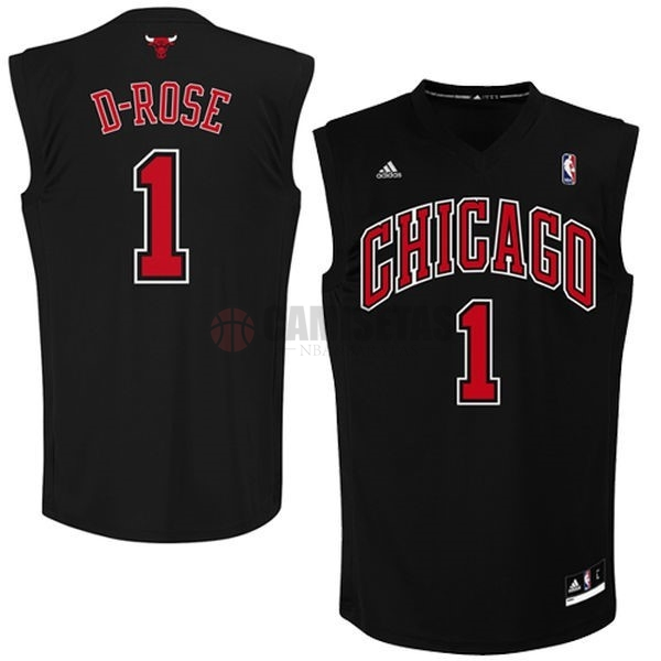Camisetas NBA Chicago Bulls NO.1 Derrick Rose Negro Rojo Barats
