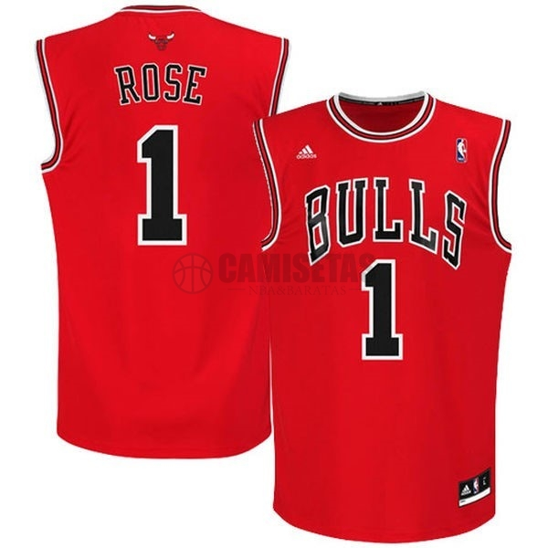 Camisetas NBA Chicago Bulls NO.1 Derrick Rose Rojo Barats