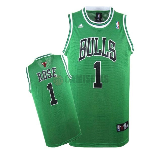 Camisetas NBA Chicago Bulls NO.1 Derrick Rose Verde Barats