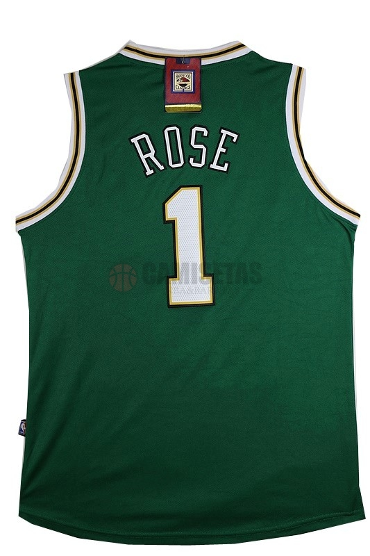 Camisetas NBA Chicago Bulls NO.1 Derrick Rose Verde Blanco Barats