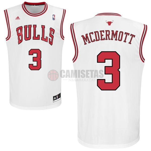 Camisetas NBA Chicago Bulls NO.3 Doug McDermott Blanco Barats