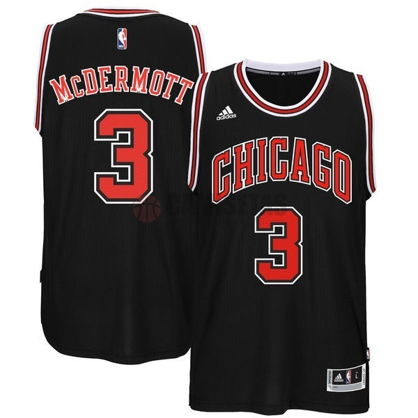Camisetas NBA Chicago Bulls NO.3 Doug McDermott Negro Barats