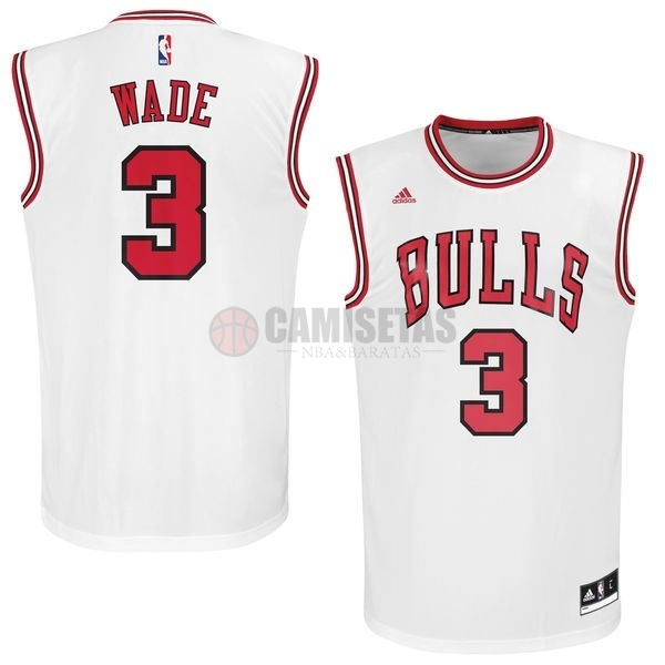 Camisetas NBA Chicago Bulls NO.3 Dwyane Wade 2016 Blanco Barats