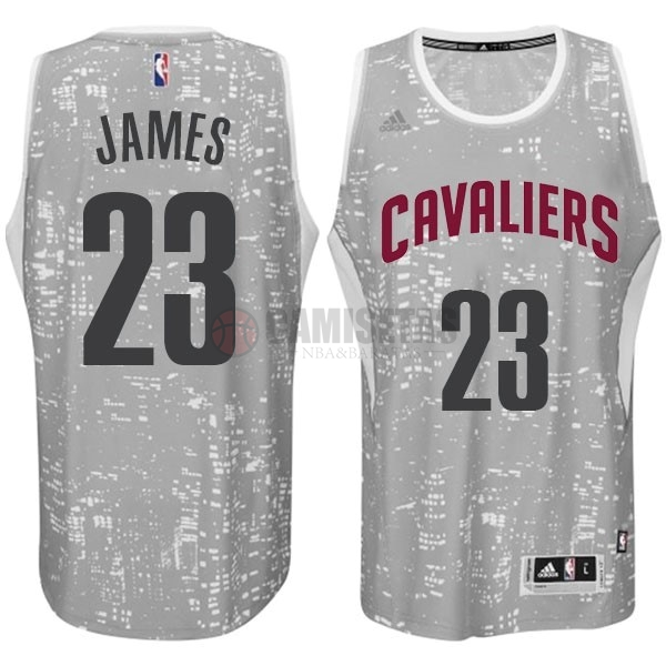 Camisetas NBA Cleveland Cavaliers Luces Ciudad NO.23 James Gris Barats