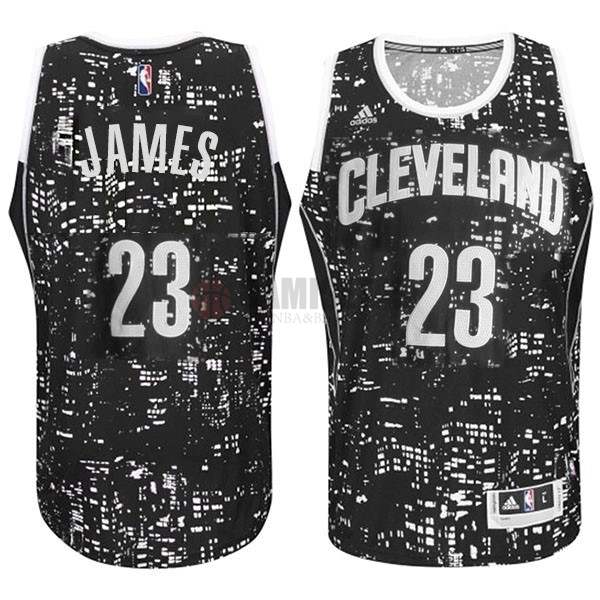 Camisetas NBA Cleveland Cavaliers Luces Ciudad NO.23 James Negro Barats