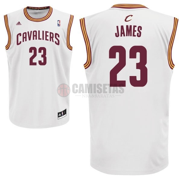 Camisetas NBA Cleveland Cavaliers NO.23 LeBron James Blanco Barats
