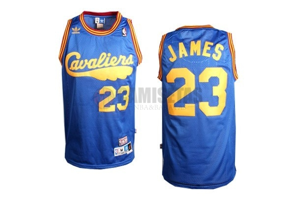 Camisetas NBA Cleveland Cavaliers NO.23 LeBron James Retro Azul Barats